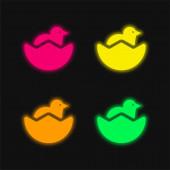 Baby Huhn und halbe Eierschale vier Farben leuchtenden Neon-Vektor-Symbol