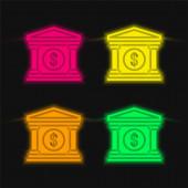 Bank four color glowing neon vector icon