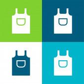 Apron Flat four color minimal icon set