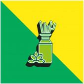 Aromaterapie Zelená a žlutá moderní 3D vektorové logo ikony