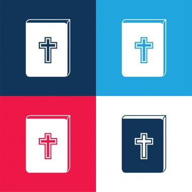 Bible With Cross Sign In Front blue and red four color minimal icon set stock vector