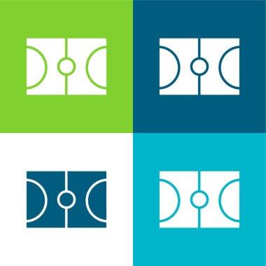 Basketball Flat four color minimal icon set stock vector