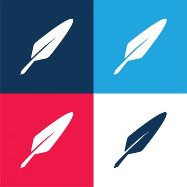 Bird Feather blue and red four color minimal icon set stock vector