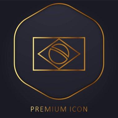 Brazil Flag golden line premium logo or icon stock vector