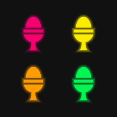 Boiled Egg four color glowing neon vector icon stock vector
