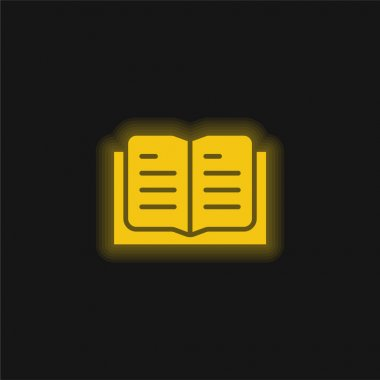 Book yellow glowing neon icon stock vector