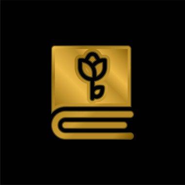 Book gold plated metalic icon or logo vector stock vector