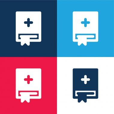 Appointment Book blue and red four color minimal icon set stock vector