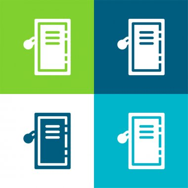 Airpot Cupboard Flat four color minimal icon set