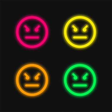 Angry Emoticon Square Face four color glowing neon vector icon stock vector