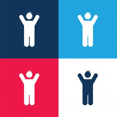 Boy With Rised Arms blue and red four color minimal icon set stock vector