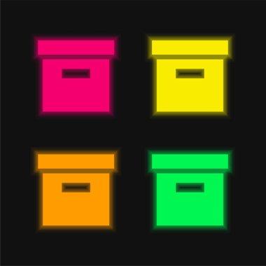 Box four color glowing neon vector icon stock vector