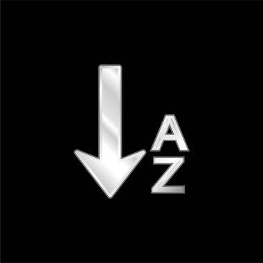 Alphabetical Order silver plated metallic icon