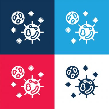 Bacteria blue and red four color minimal icon set stock vector