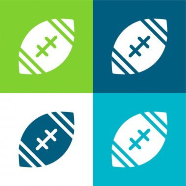 American Football Flat four color minimal icon set stock vector
