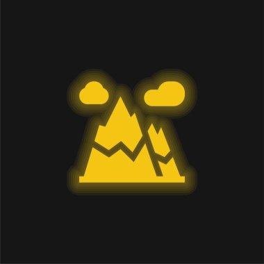 Alps yellow glowing neon icon stock vector