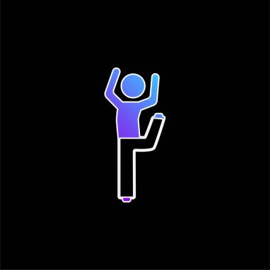 Boy With Bended Leg And Arms Up blue gradient vector icon stock vector