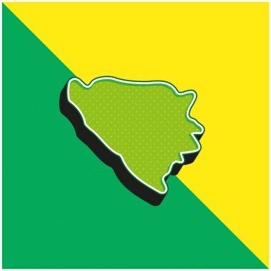 Bosnia And Herzegovina Green and yellow modern 3d vector icon logo stock vector