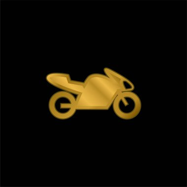 Bike With Motor, IOS 7 Interface Symbol gold plated metalic icon or logo vector