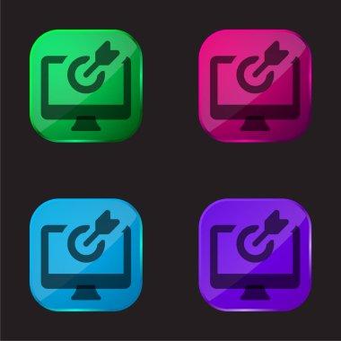 Arrow four color glass button icon stock vector
