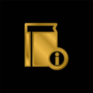 Book Information gold plated metalic icon or logo vector stock vector