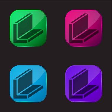 Beam four color glass button icon
