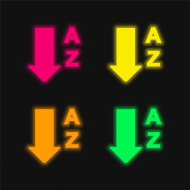 Alphabetical Order From A To Z four color glowing neon vector icon