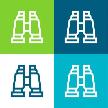 Binoculars Flat four color minimal icon set stock vector