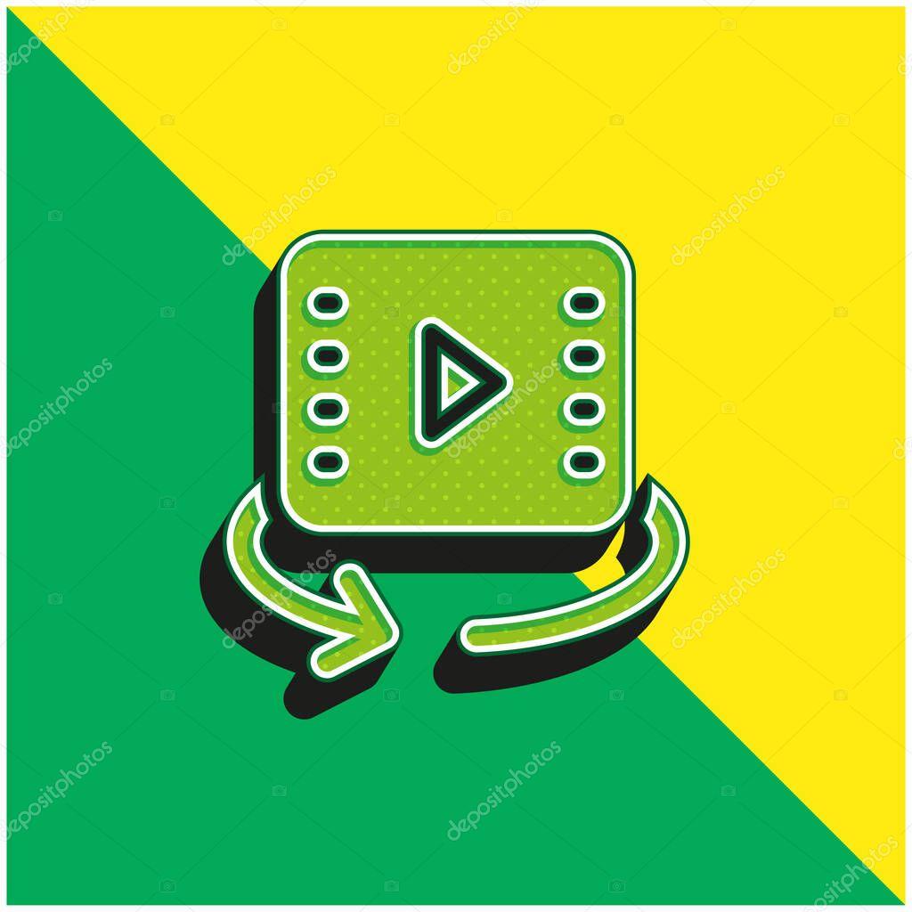 360 Video Green and yellow modern 3d vector icon logo stock vector