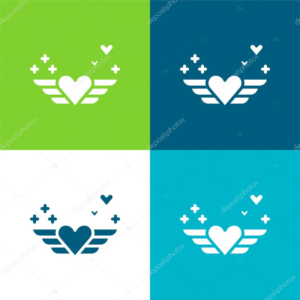 Angel Flat four color minimal icon set stock vector