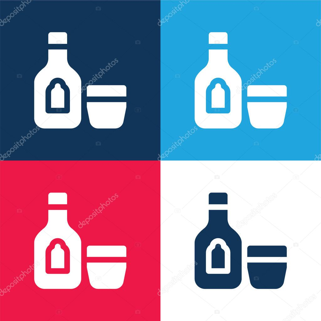 Alcoholic Drink blue and red four color minimal icon set stock vector