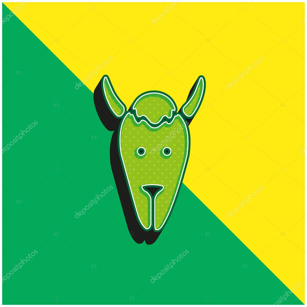 Bison Head Green and yellow modern 3d vector icon logo stock vector