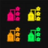 Bio Energy vier Farben leuchtenden Neon-Vektor-Symbol