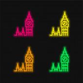 Big Ben four color glowing neon vector icon