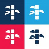 Bambusz kék és piros négy szín minimális ikon készlet