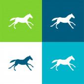 Black Running Horse Flat négy szín minimális ikon készlet