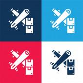 Luftfracht blau und rot vier Farben minimales Symbol-Set
