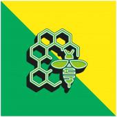 Apitherapy Zelená a žlutá moderní 3D vektorové logo ikony