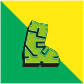 Boot Grünes und gelbes modernes 3D-Vektor-Symbol-Logo