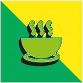 Bowl Of Hot Soup On A Plate Zelená a žlutá moderní 3D vektorové logo