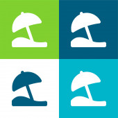 Beach Umbrella Flat čtyři barvy minimální ikona nastavena