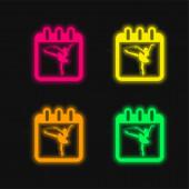 Balett táncos a naptáron Oldal Emlékeztetni osztály negyedik napja színes izzó neon vektor ikon