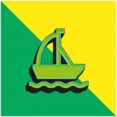 Lodní zelená a žlutá moderní 3D vektorové logo ikony