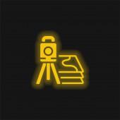 3d Scanner žlutá zářící neonová ikona