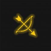 Íjászat sárga izzó neon ikon