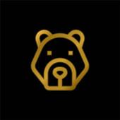 Medve aranyozott fém ikon vagy logó vektor