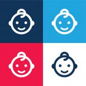 Baba kék és piros négy szín minimális ikon készlet