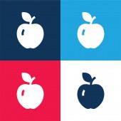 Apple modrá a červená čtyřbarevná minimální sada ikon