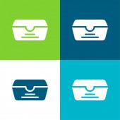 Box Flat čtyři barvy minimální ikona nastavena