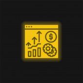 Ikona žlutého zářícího neonu analýzy